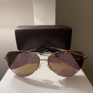 Gold & Tortoise Coach Aviator Sunglasses